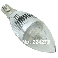 LED Candle Bulb 3W White 6000-6500K E14 Head Color Silver