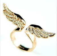 20pcs/lot Free shipping!Fashion Jewelry Alloy Color Angel Wings with Diamond Ladies Rings