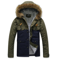 Autumn and winter street fashion male casual color block decoration large fur collar short design wadded jacket outerwear 9333