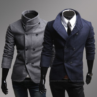 Autumn and winter trend double breasted men's clothing outerwear male woolen overcoat 8262