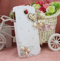 2pcs New Handmade 3D Wood Heart and Pearl Flower Bling Diamond Pendant Case For Lenovo A630