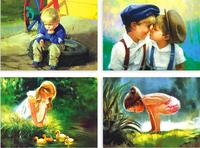Free shipping (16 pcs/set; 5 sets/lot) Childhood Oil Painting Postcard Set /10.2*14.2cm