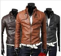 Men's Sexy Designed PU Leather Short Slim Fit Top Jacket Coat Outerwear 3 color