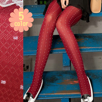 2013 all-match white dot small rhombus plaid pantyhose silk stockings female