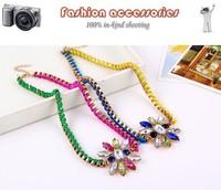 2014 new Arrive Fluorescent color wool weaving  flower short necklace A683