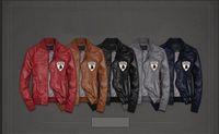 NWT Leatherette Man's PU Jacket Leather Motorcycle Coat Jacket #7
