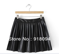 Free Shipping New 2013 Women Fashion Spring&Autumn PU Pleated Skirts