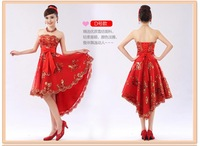 2014 new fashion short bandage irregularity strapless gold lace eveing dress lace up prom dresses 6 style