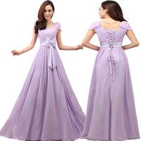 2015 new fashion purple long plus size lace up wedding dress bandage prom dresses