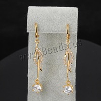 Free shipping!!!Brass Lever Back Earring,korean, 18K gold plated, with cubic zirconia, nickel, lead & cadmium free, 52x6.5mm