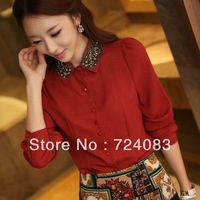 2013 OL women's shirts  Square collar ol long-sleeve beaded chiffon shirt sweet slim 8836 rustic free shipping
