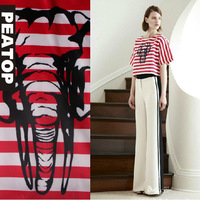 DHL Free! 2014 NEW women's elephant print stripe design top black and white color block trousers set