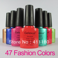 Free Shipping Gelexus Shellac Soak Off UV LED Nail Gel Polish  (10pcs color gel+1pc base gel+1pc top coat+FREE SHIPPING