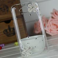 2014 New Shiny Crystal rhinestones Silver Flower Cover diamond case For Lenovo A706