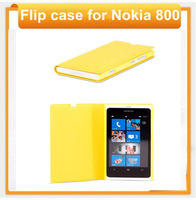 For nokia 800 free shipping flip design new design yellow color flip leather 800 case for nokia from aliexpress shenzhen