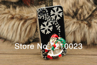1pcs New Christmas Gift New 3D Snow Flower Christmas Tree Diamond Bling Santa Claus Case Cover for iphone 5 5S 5C 4 4S 4G 5C