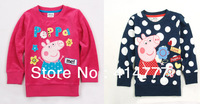 Retail children peppa pig clothing t shirt peppa pig tops 2013 new baby girls long sleeve Spring/autumn T-shirts Size 2Y-6Y