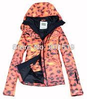 Free shipping  new women's leopard print waterproof outdoor snowboard jacket ladies yellow ski jacket snow women ski suit