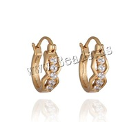 Free shipping!!!Brass Hoop Earring,Jewelry For Men, 18K gold plated, micro pave cubic zirconia, nickel, lead & cadmium free