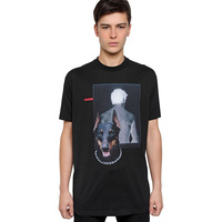 2014 Fashion  dog print o-neck all-match loose short-sleeve t-shirt  for men