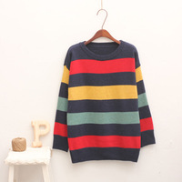 Small fresh 1031 vintage color block stripe o-neck long-sleeve sweater