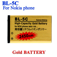 2 pcs/lot BL-5C BL 5C High Capacity 2450mAh Gold Business Battery for Nokia 3650 1100 6230 6263 6555 1600 Batterij Bateria Accu