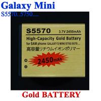 2 pcs, 2450mAh High Capacity Gold Golden Battery for Samsung GALAXY mini S5570 5750 Batterie Batterij Bateria AKKU Accumulator