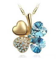 Free shipping,gold plated necklace,Crystal necklace clover necklace Korean stars crystal jewelry wholesale B14-2