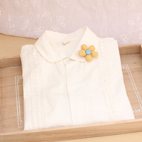 1121 turn-down collar long-sleeve lace decoration white shirt