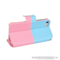 Two Colors Design Folio Flip Wallet Cover PU Leather Case for iPhone 5 5S, Free Shipping, 100pieces/lot