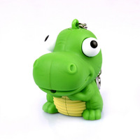 Min-Order10$ Fashion Cartoon Dinosaur Keychain Accessories Sound Light Key Ring Led flashlight Men Toy Cute Animals Key Trinket