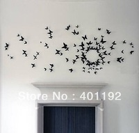 Free shipping  (10 pcs / pack ) DIY 3D Wall Sticker butterfly Home Decor Room Decorations Decals Color black size 5.8cm*5.8cm