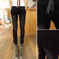 2014 slim elastic waist casual pants corduroy trousers male trousers water wash wick pants