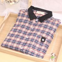 Vintage small 1031 fresh plaid sanded patchwork collar long-sleeve shirt