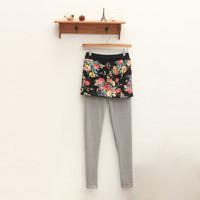 Small fresh 10.10 elastic waist floral print dress faux two piece legging