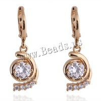 Free shipping!!!Brass Lever Back Earring,Tibet Jewelry, 18K gold plated, with cubic zirconia, nickel, lead & cadmium free
