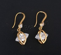 Free shipping!!!Brass Drop Earring,Love Jewelry, 18K gold plated, with cubic zirconia, nickel, lead & cadmium free, 27x12mm