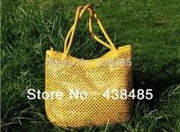 2014 Summer Hand Weaving Bag Sequined Designer Famous Brand Women Leather Handbag Large Ladies Tote One Shoulder Bag Beach Bag