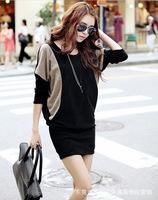 2013 Winter Dress outfit plus-size women's wide edition shirt satchel hip bat sleeve T-shirt Package hip Short