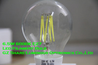 2013 Total New E27 6000K 6.5W Led Filament Bulb Lamp Free Shipping