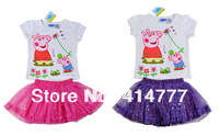 Retail Free Shipping Girls Kids Baby Peppa Pig Lovely Pink Purple Outfit Set 2-6Y New Skirt&Top Shirt Dress Summer Lovely