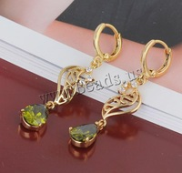 Free shipping!!!Brass Lever Back Earring,Unique, 18K gold plated, with cubic zirconia, nickel, lead & cadmium free, 41x7mm