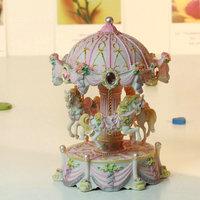 Rose pattern Carousel  shape with light shine Music Box free shipping