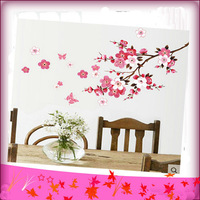 Free Shipping 45*60cm The Peach Blossom Tree Branch Removable Art Vinyl Wall Stickers Decor Mural Decal