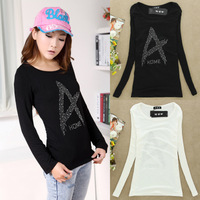 Hot long-sleeved T-shirt 2013 women's fall and winter clothes new Korean Modal Rhinestone Neck Slim primer shirt MDE085