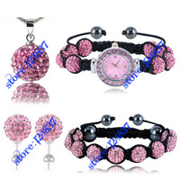 Wholesale 4pcs/set Shambala Watch Set Pink Fashion Crystal Necklace/Pendant/ Bracelet/Watch/Stud Earring Set Luxury Jewelry sets