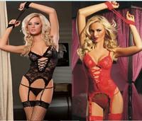 2014 New Women's Sexy Lingerie Black Red Lace Dress+G string+Handcuff+Garter Belt
