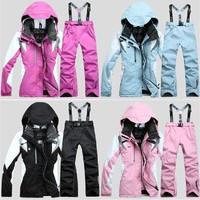 women 7 color Waterproof warm ski suit Jacket Coat + Pants snowboard Clothing S -XXL
