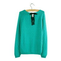 FREE SHIPPING  3 Colors 100% COTTON LONG SLEEVE SLIM WOMEN SWEATER   LADY PULLOVER  #N309