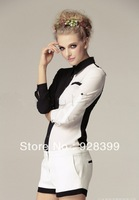Free shipping Spring 2014 new European and American long-sleeved chiffon blouse stitching S, M, L
